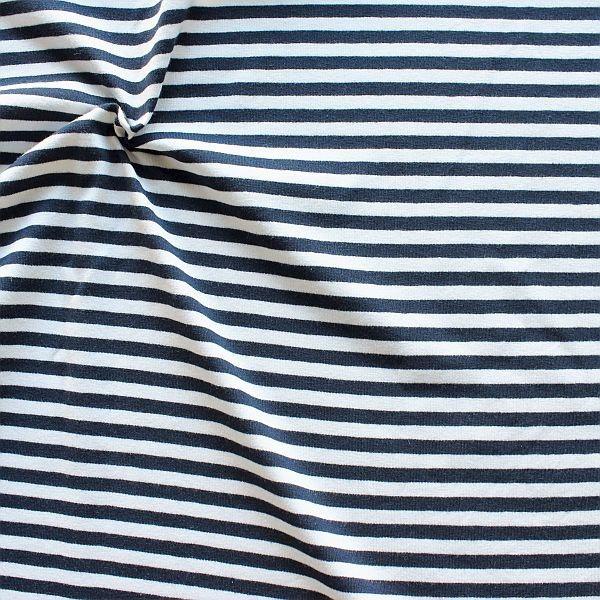 Baumwoll Stretch Jersey Ringel Navy-Blau Weiss