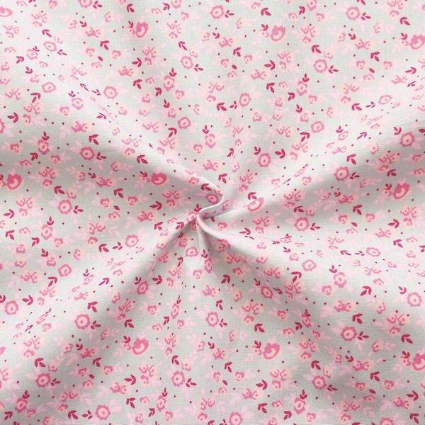 """100% Baumwolle Popeline """"Millefleurs 10"""" Farbe Hell-Grau Rosa"""