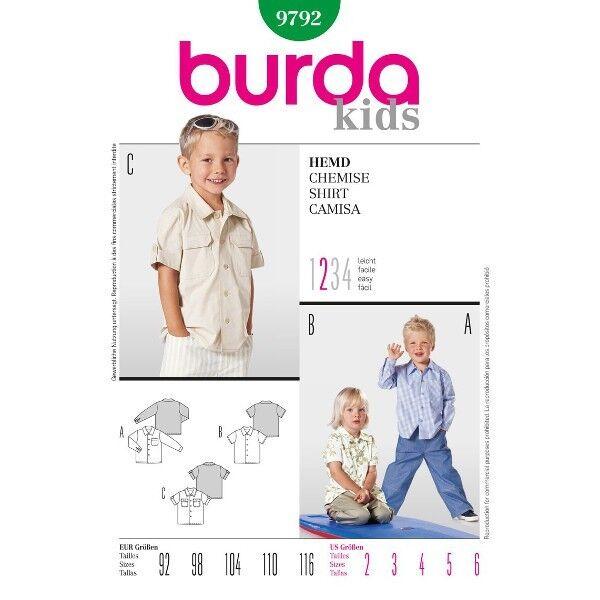 Hemd, Gr. 92 - 116, Schnittmuster Burda 9792