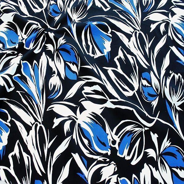 Stretch Baumwolle Satin Floral Print Schwarz