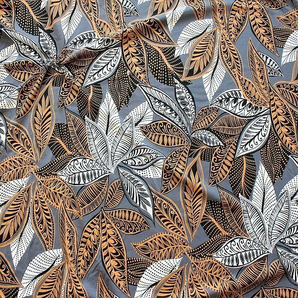 Baumwoll Stretch Jersey Blätter Ethno Style Grau-Ocker