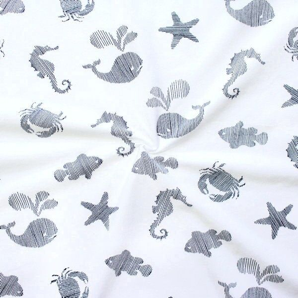 "Baumwoll Stretch Jersey ""Sea Life"" Farbe Weiss"