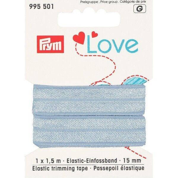 Prym Love 1,5m Elastic-Einfassband 15mm breit hell-blau