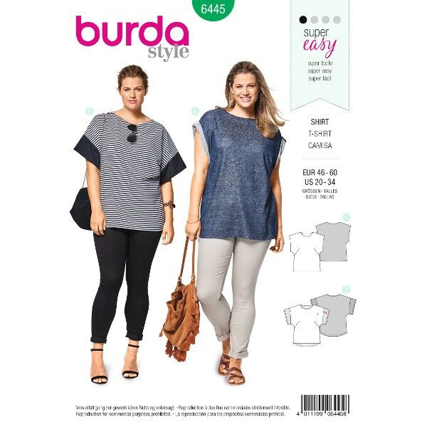 Shirt – überschnittene Schultern – Rundhalsausschnitt, Gr. 46 - 60, Schnittmuster Burda 6445