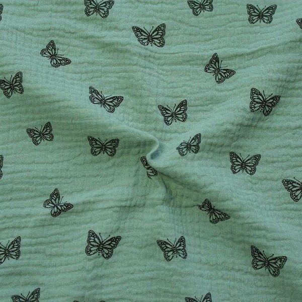 Baumwoll Musselin Double Gauze Schmetterlinge Mint