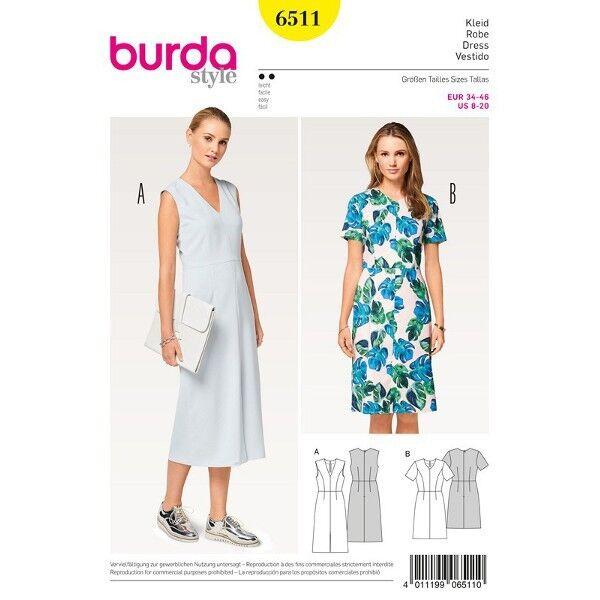 Kleid - V-Ausschnitt - 4-Bahnenrock, Gr. 34 - 46, Schnittmuster Burda 6511