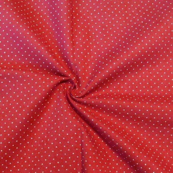"Baumwollstoff Hemden Qualität ""Tupfen Mini"" Farbe Rot"