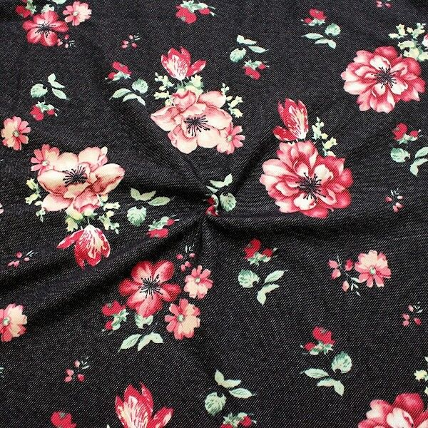 Sweatshirt Baumwollstoff Flowers Jeans-Optik Schwarz