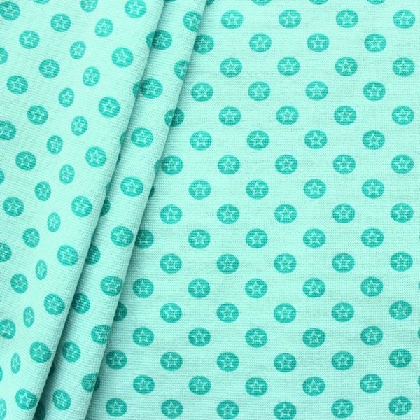 Baumwoll Bündchenstoff Stern im Kreis glatt Mint-Grün