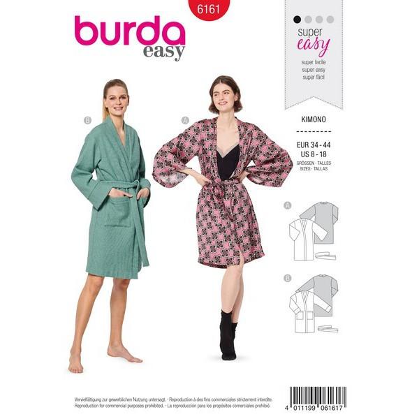 Kimono – Bademantel , Gr. 34 - 44, Schnittmuster Burda 6161