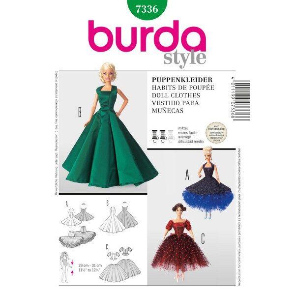 Burda 7336 Schnittmuster für Abendkleider - Prinzessinnenkleider für 29 bis 31 Zentimeter große Anziehpuppen