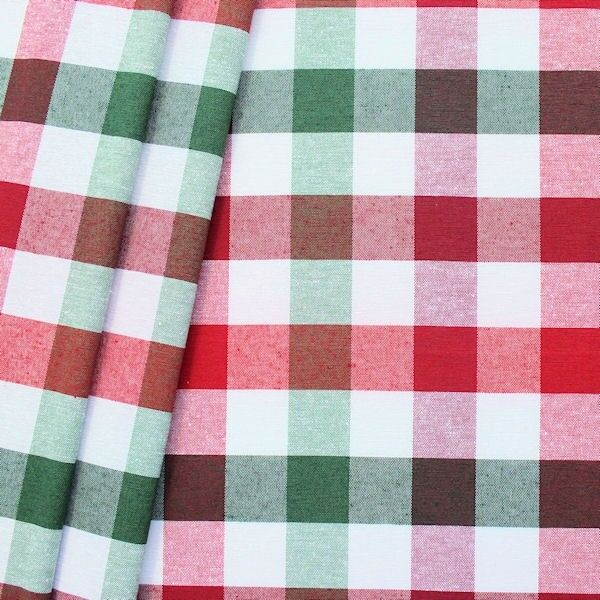 """Dekostoff """"Landhaus Karo 5"""" Farbe Rot-Weiss-Grün"""