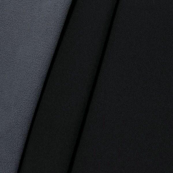 Softshell Fleece Stoff Two Tone Schwarz Grau