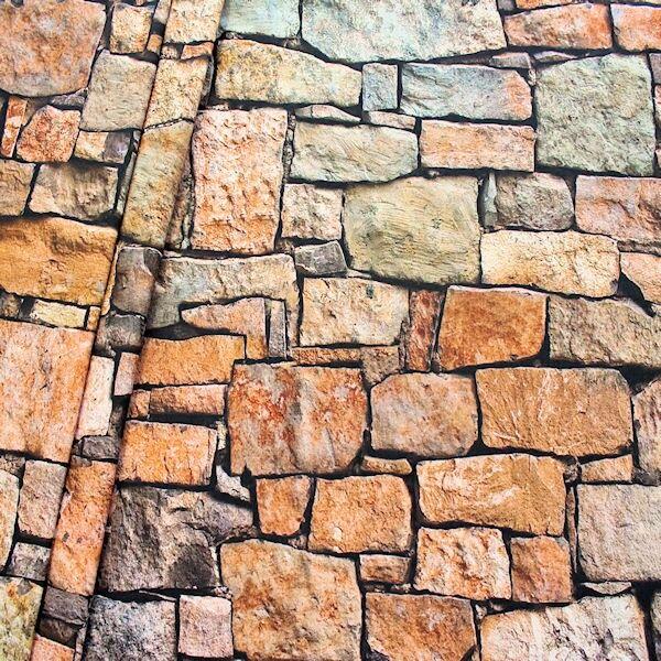Dekostoff Digital Druck Steinmauer Braun