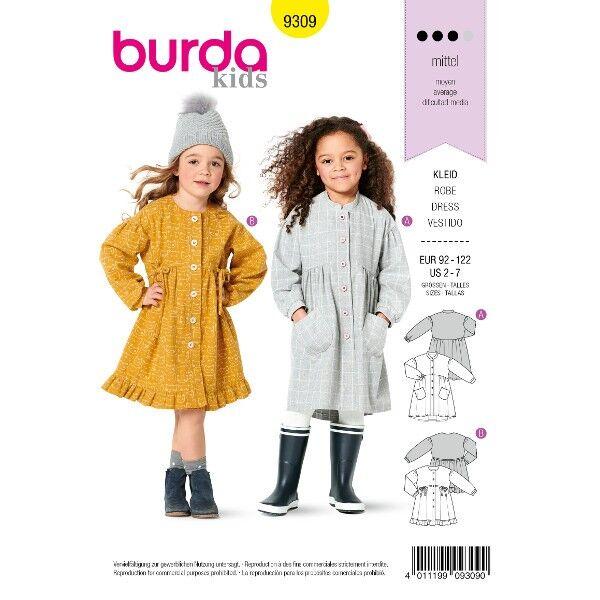 Kleid mit Knopfverschluss – eingereihter Rock, Gr. 92 - 122, Schnittmuster Burda 9309