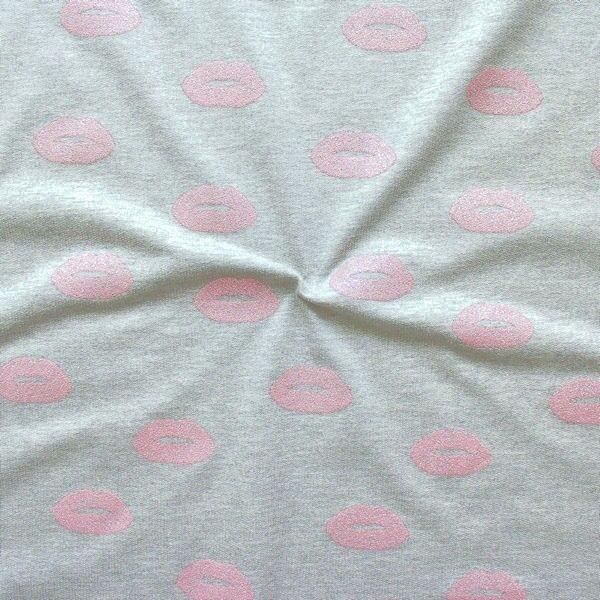 "Sweatshirt Baumwollstoff French Terry ""Glitter Lips"" Farbe Rosa"