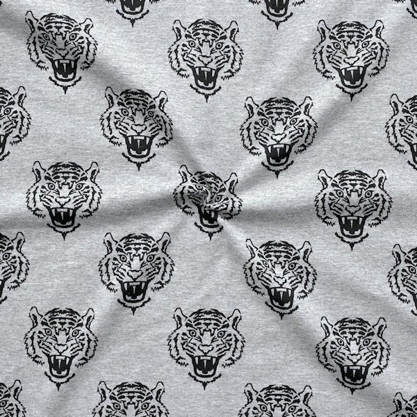 Baumwoll Stretch Jersey Tiger Köpfe Grau meliert
