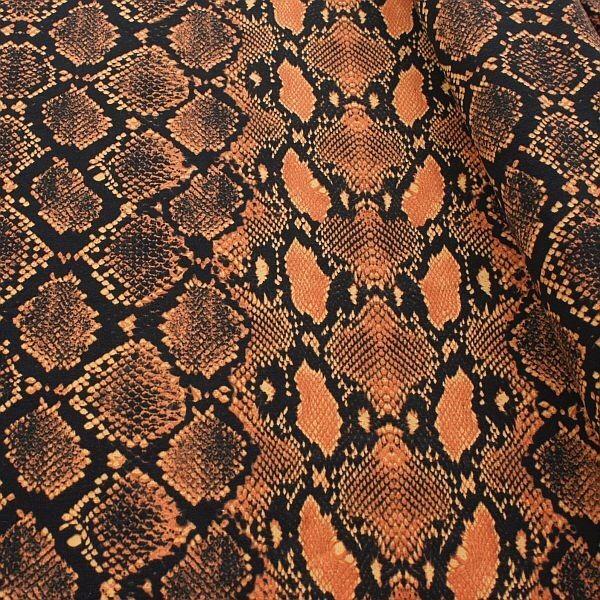 Baumwoll Stretch Jersey Snake Schwarz-Orange