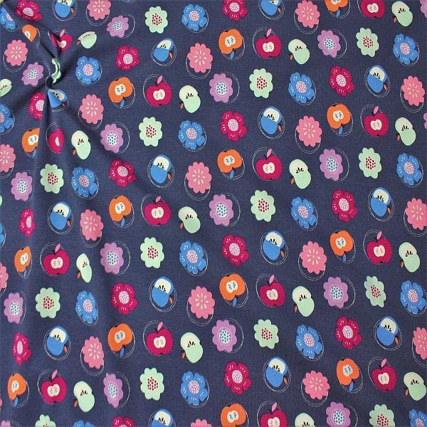 Organic Baumwoll Stretch Jersey Blüten & Äpfel Blau-Lila