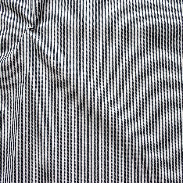 Baumwolle Denim Jeans Stoff Streifen Schmal Dunkel-Blau Weiss