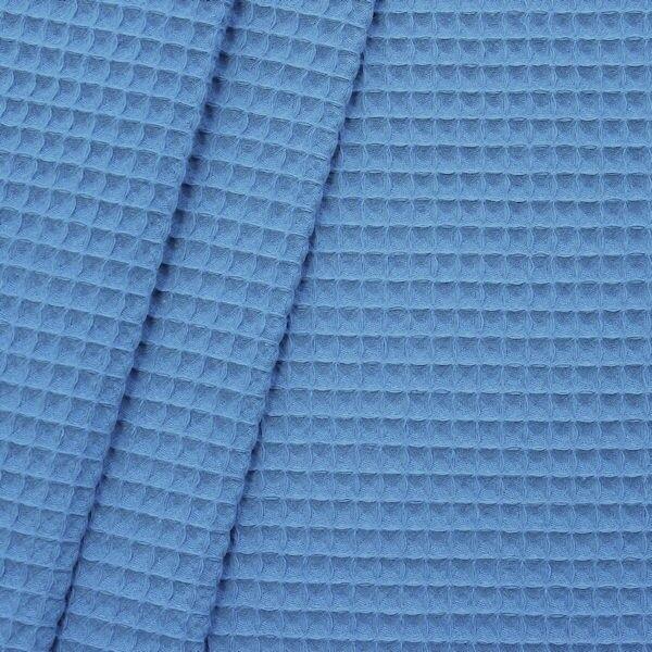 100% Baumwolle Waffel Piqué Farbe Blau