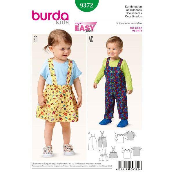 Burda 9372 Schnittmuster für Mädchen und Jungen Latzhose, Trägerrock und Shirt mit kurzen oder langen Ärmeln