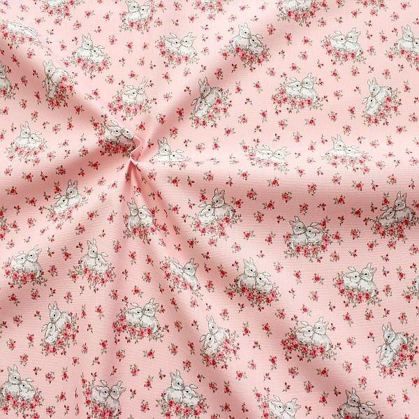 100% Baumwollstoff Charming Bunnies Rosa