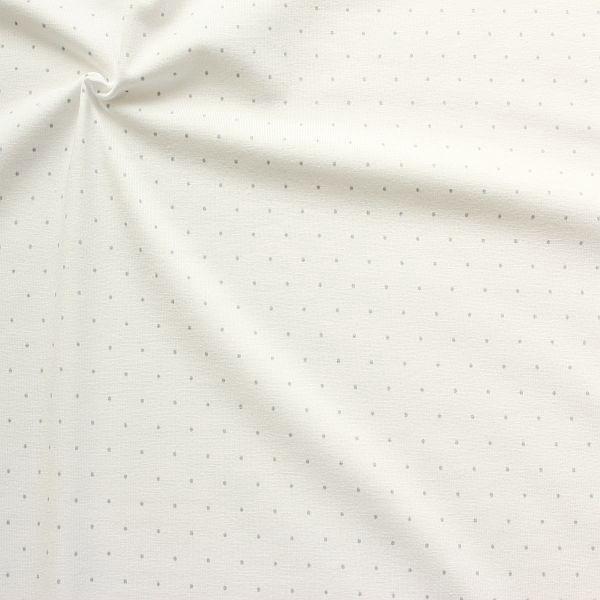Baumwoll Stretch Jersey Mini Dots Ecru