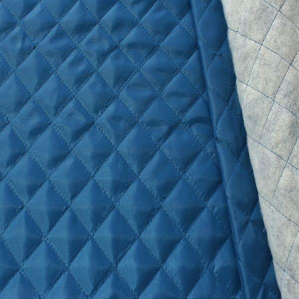 Steppstoff Futterstoff wattiert Rauten Klassik Jeans-Blau