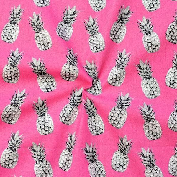 100% Baumwolle Popeline Ananas Pink