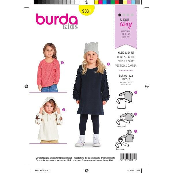 Shirtkleid, Sweater, Hoodie, Gr. 92 - 122, Schnittmuster Burda 9331