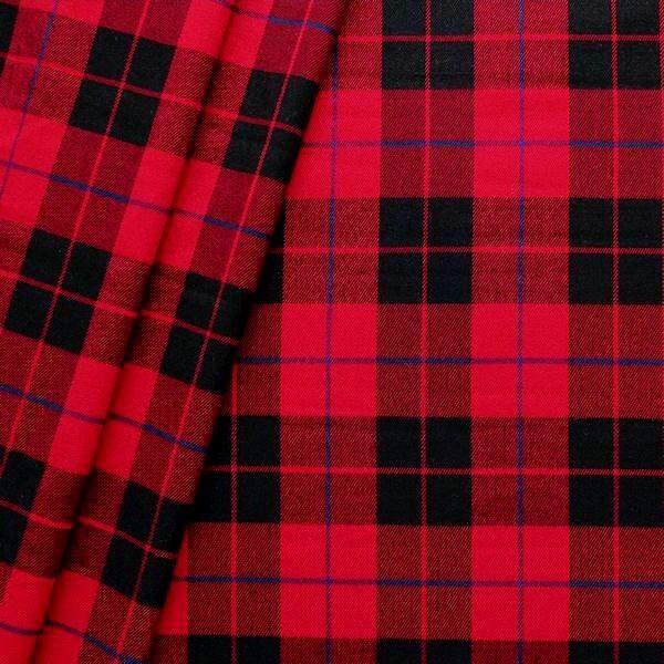 "Modestoff / Dekostoff ""Fashion Tartan"" Farbe Rot-Schwarz"