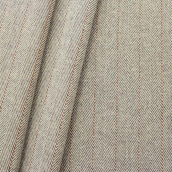Baumwolle Fischgrät mit Nadelstreifen Beige-Braun