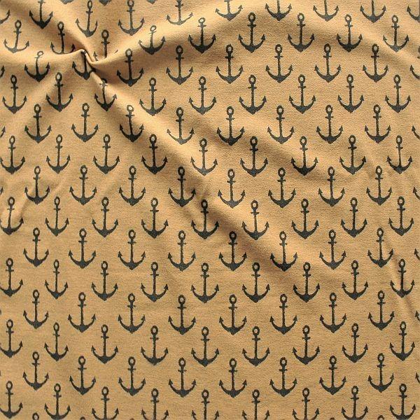 Sweatshirt Baumwollstoff French Terry Anker Used Look Ocker meliert