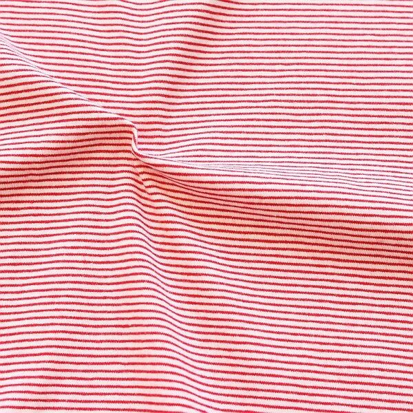 Baumwoll Stretch Jersey Mini Ringel Ecru-Rot