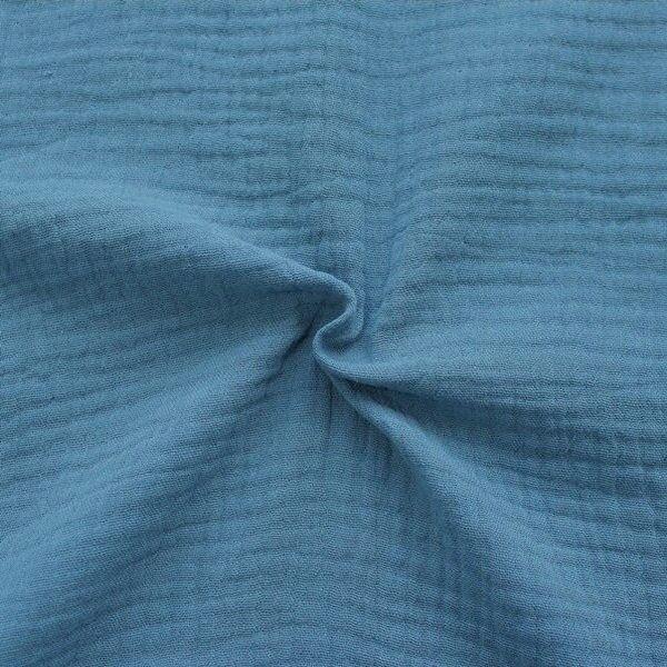 100% Baumwolle Musselin Double Gauze Farbe Tauben-Blau