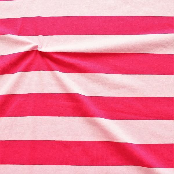 Baumwoll Stretch Jersey Blockstreifen Duo Rosa-Pink