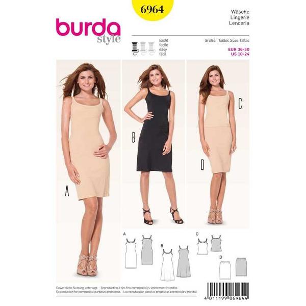 Wäsche – Unterkleid – Hemd – Unterrock, Gr. 34 - 50, Schnittmuster Burda 6964
