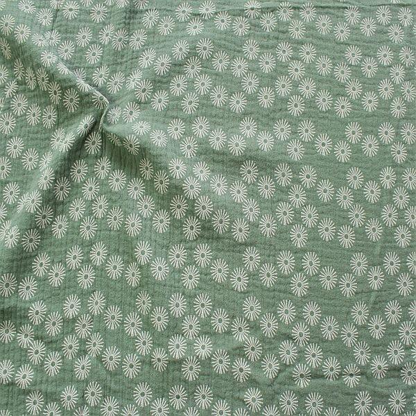Baumwolle Musselin Strahlenblüten Mint-Grün
