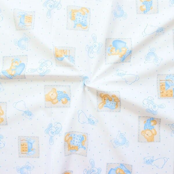 "4,30 Meter 100% Baumwollstoff ""Baby´s Friends"" Farbe Weiss-Blau"