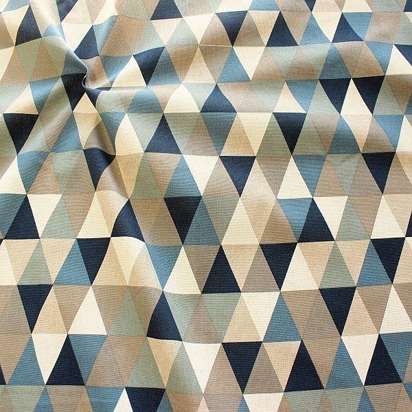 Dekostoff Halbpanama Leinen Optik Dreiecke Natur-Blau