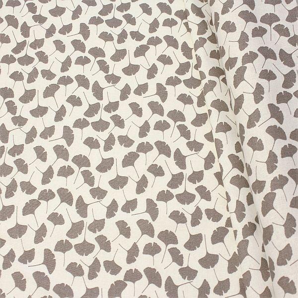 Baumwolle Dekostoff Ginkgo Blätter Ecru Taupe