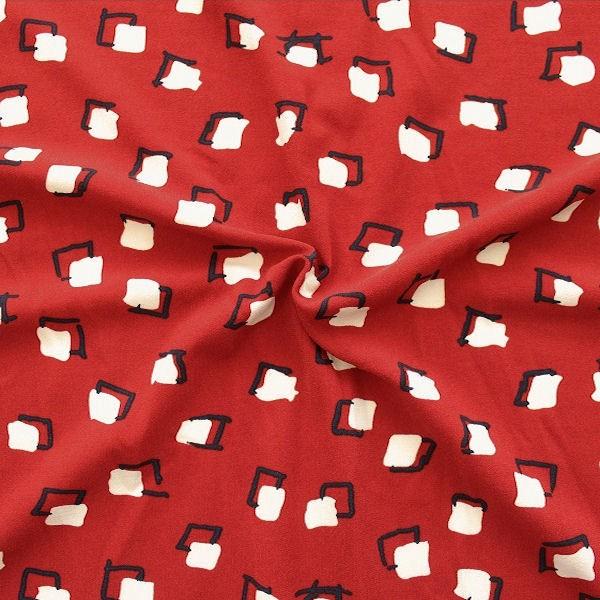 Crêpe Modestoff  Fashion Quader Rost-Rot