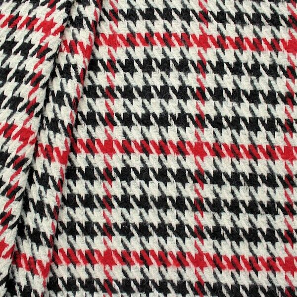 Wollmix Stoff Hahnentritt groß Grau-Schwarz-Rot