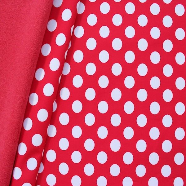"""Softshell Fleece Stoff """"Punkte Groß"""" Farbe Rot-Weiss"""