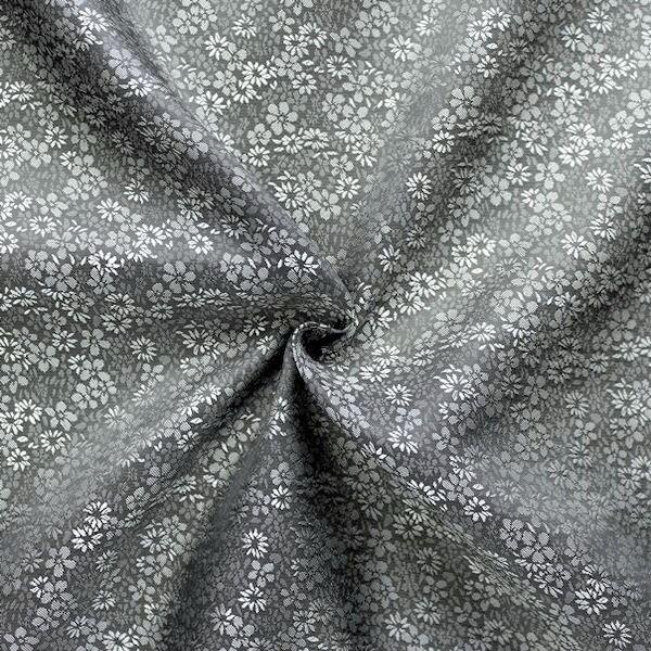"Futterstoff Jacquard ""Millefleurs 8"" Farbe Silber-Grau"