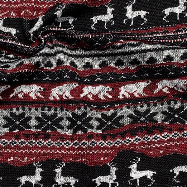 Strick Fleece Hirsche und Eisbären Schwarz-Rot