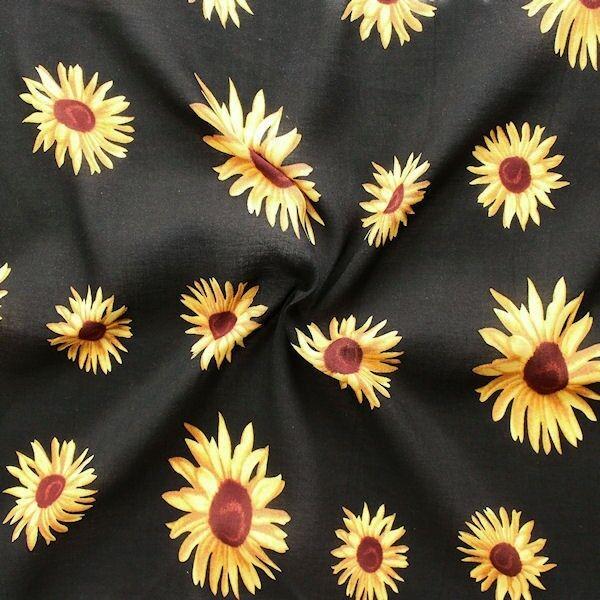 100% Viskose Modestoff Sunflowers Schwarz