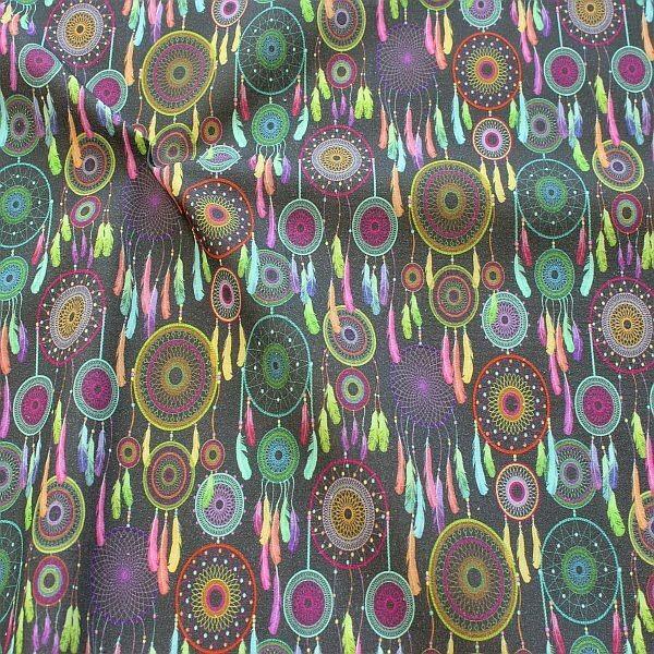 Baumwollstoff Boho Dreamcatcher Grau-Multicolor