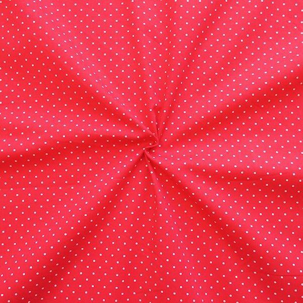 Rote Stretch-Popeline mit weißen Punkten